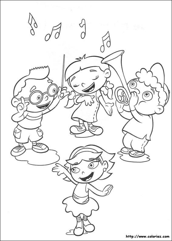 Coloriage Quatres Enfants Jouent La Musique Et Chantent