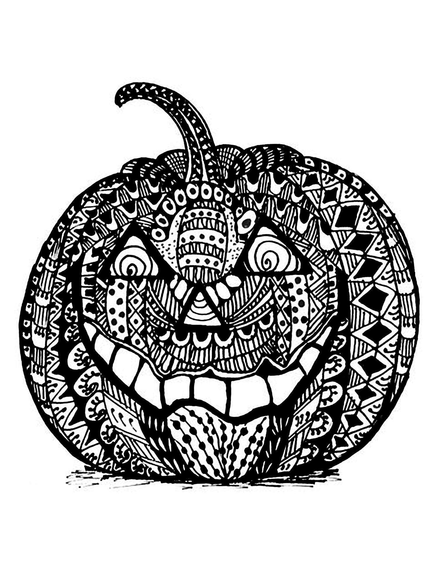 Halloween Citrouille Complexe Zentangle Coloriage