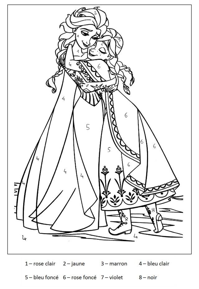 Magique reine des neiges 23 - Coloriage magique - Coloriages pour