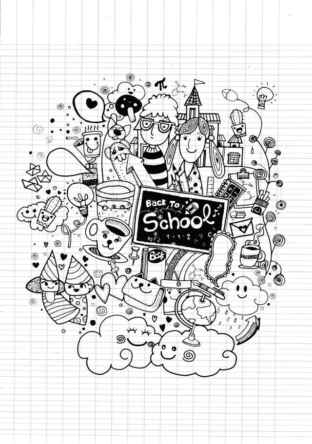 Complexe doodle rentree des classes sur cahier - Coloriage adulte