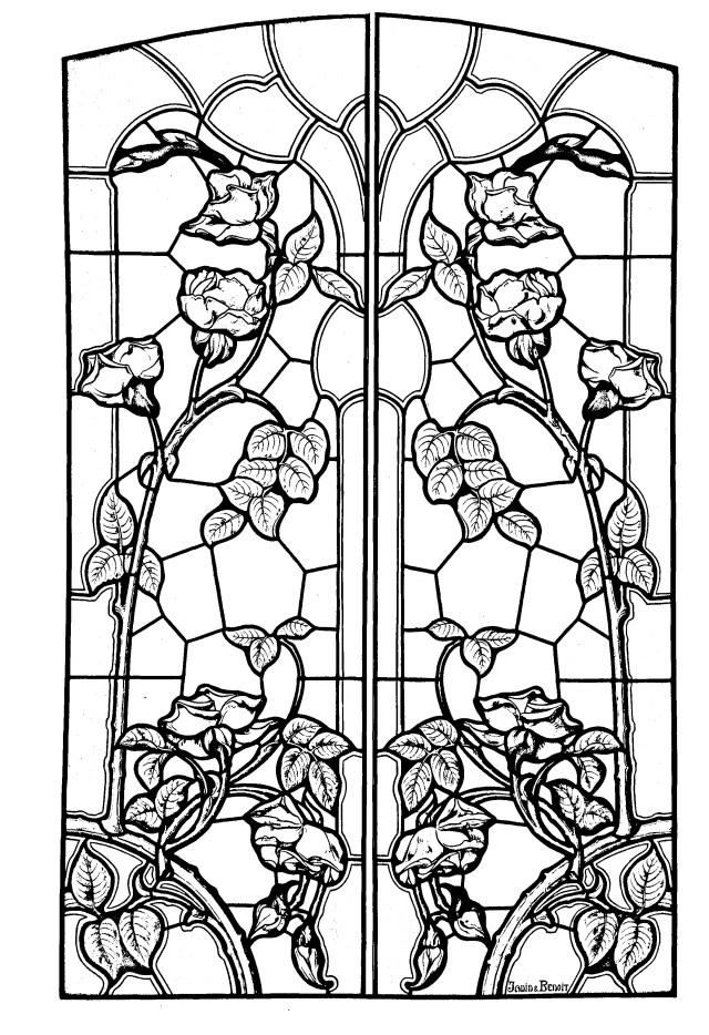 Pour dessin vitrail style art nouveau gratuit a imprimer