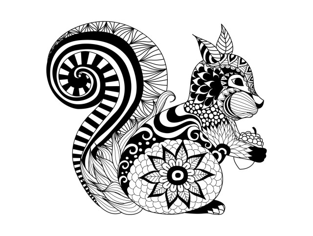 Pour zentangle ecureuil - Coloriage adulte - Coloriages pour enfants