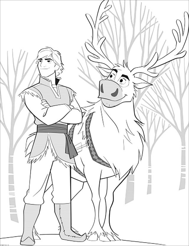 La reine des neiges 19 : Sven et Kristoff sans texte - Coloriage La