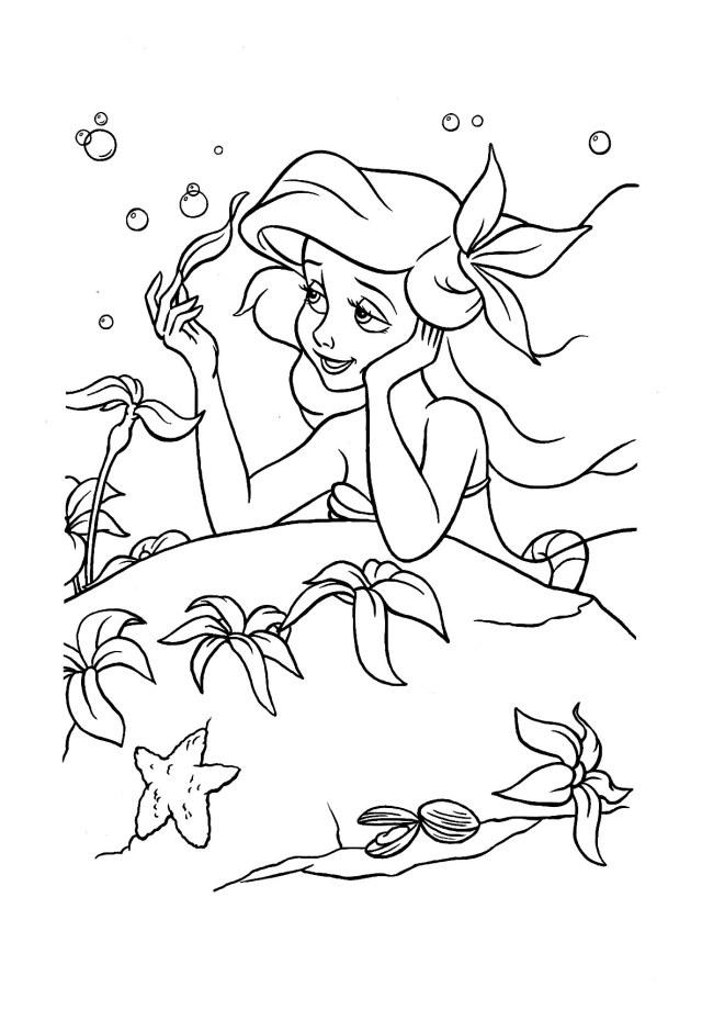 La jolie Ariel, à colorier - Coloriage La petite Sirène (Ariel