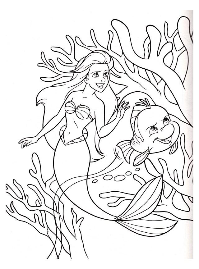 Ariel la Petite Sirène Disney - Coloriage La petite Sirène (Ariel