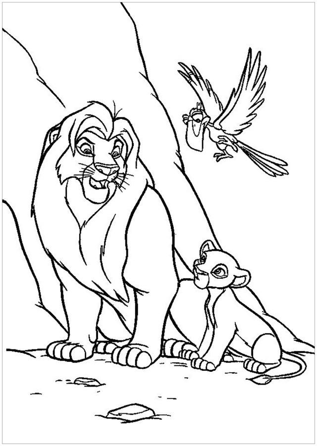 Mufasa et Simba, avec Zazu - Coloriage Le roi lion - Coloriages