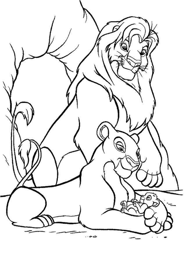 Nala, Mufasa et Simba - Coloriage Le roi lion - Coloriages pour