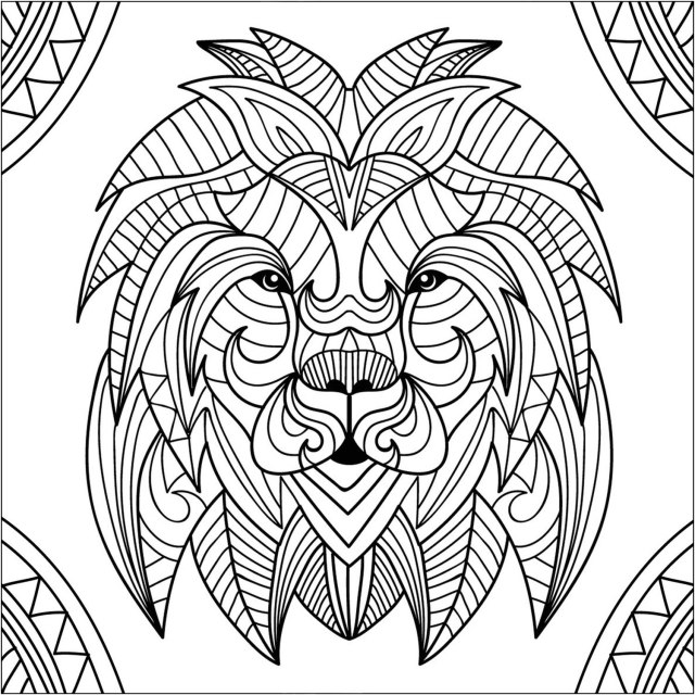 Tete de lion mandala 14 - Coloriage de lions - Coloriages pour enfants