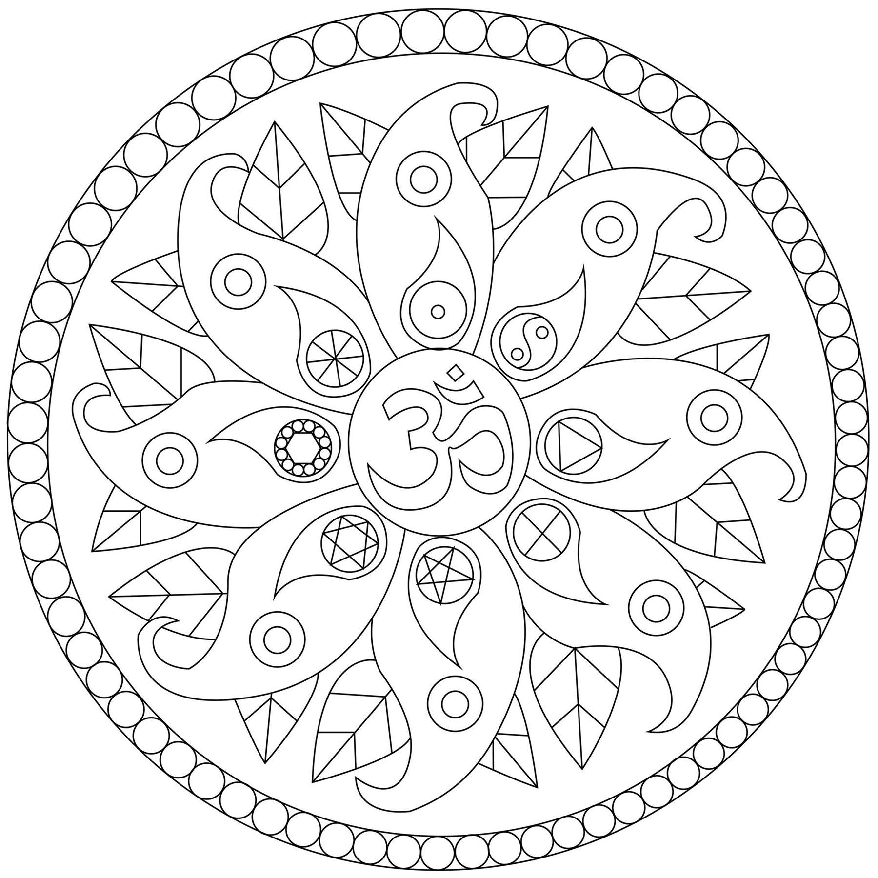Mandala Avec Symboles Divers
