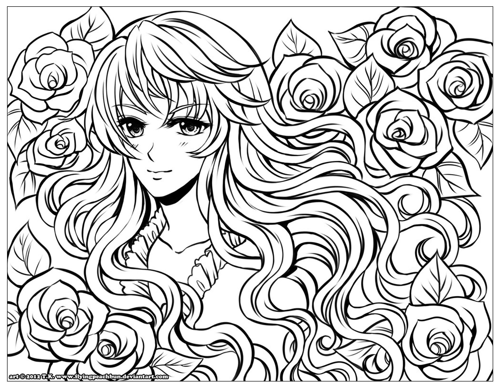 Fille Manga Fleurs Dans Ses Cheveux