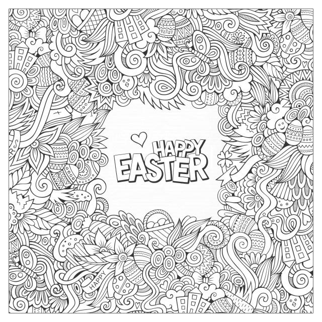 Doodle de Pâques - Coloriage de Pâques (Oeufs de Pâques, Lapins