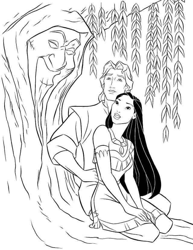 Coloriage de Pocahontas pour enfants - Coloriage Pocahontas