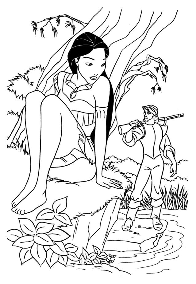 Coloriage de Pocahontas à imprimer - Coloriage Pocahontas