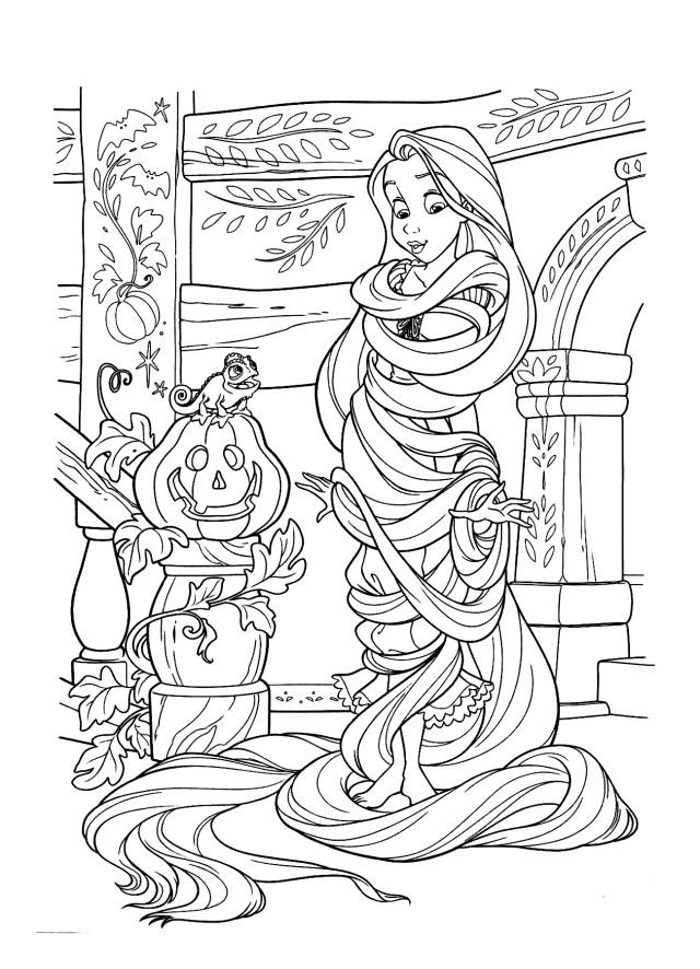 Raiponce halloween - Coloriage Raiponce - Coloriages pour enfants