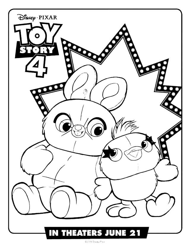 Ducky et Bunny : Coloriage de Toy Story 25 à imprimer gratuitement