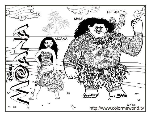 Image de Vaiana à télécharger et colorier - Coloriage Vaïana, la