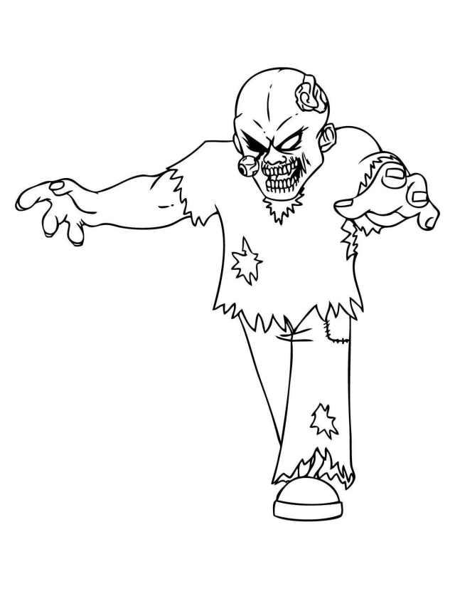 Dessin de zombie gratuit à imprimer et colorier - Coloriage de