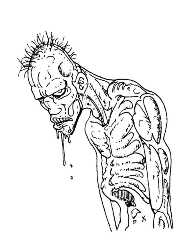 Coloriage de zombie à imprimer - Coloriage de Zombies - Coloriages
