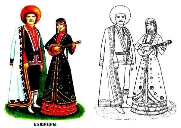 Раскраска Башкирский национальный костюм | Раскраски ...