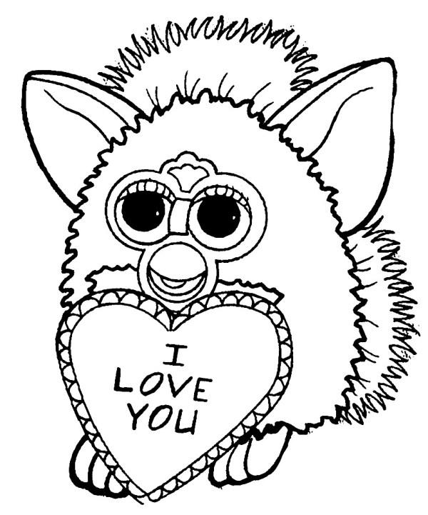 Раскраска Ферби Бум с сердечком | Раскраски для детей ...