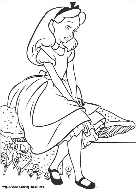 alice in wonderland coloring page # 7