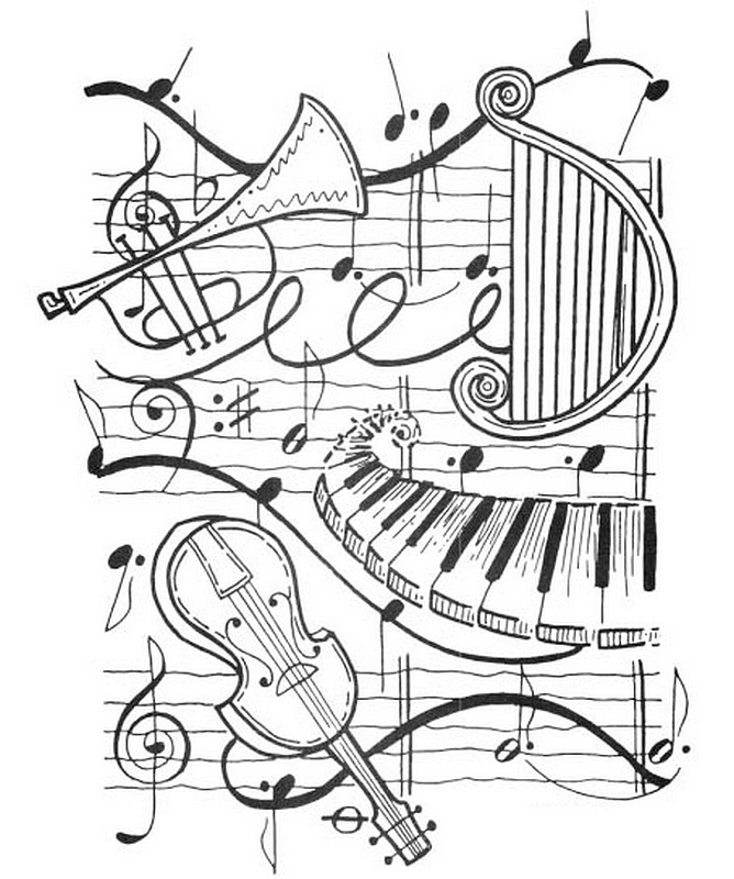 art therapy coloring page music  harp trumpet violin