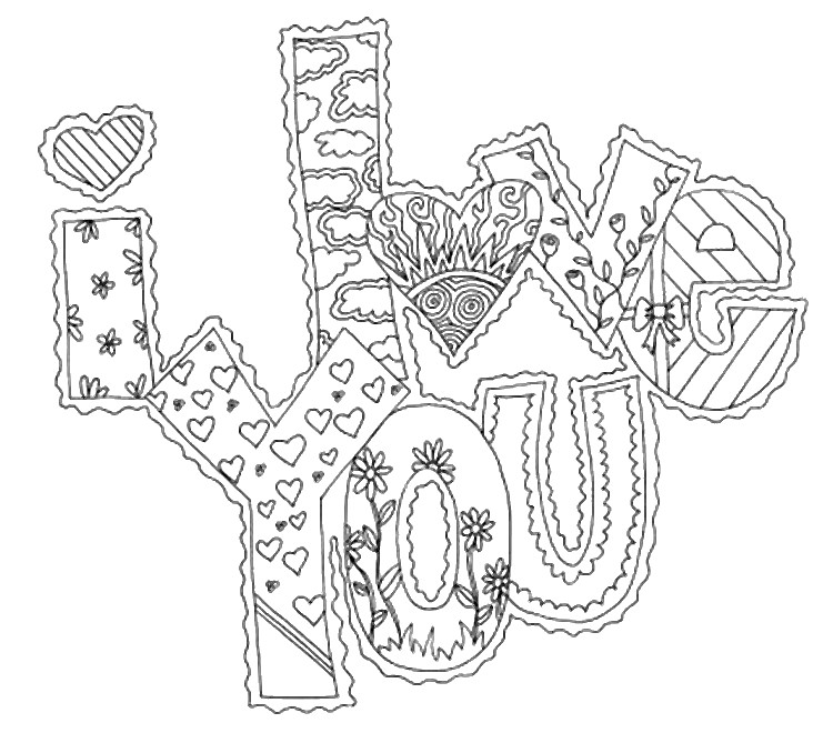 Art Therapy Coloring Page Love I Love You 10