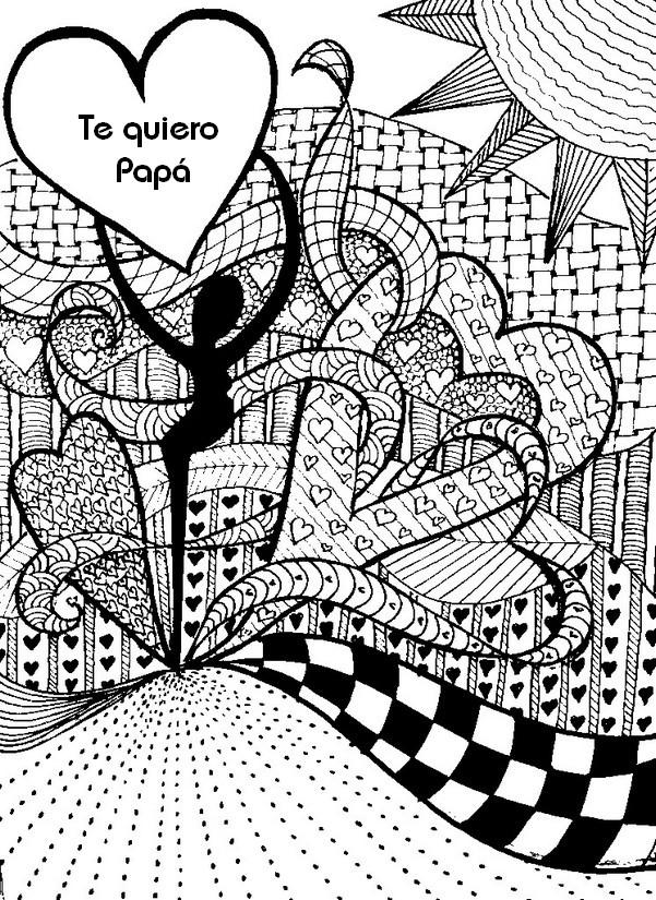 Dibujo Para Colorear Relajante Dia Del Padre Te Quiero
