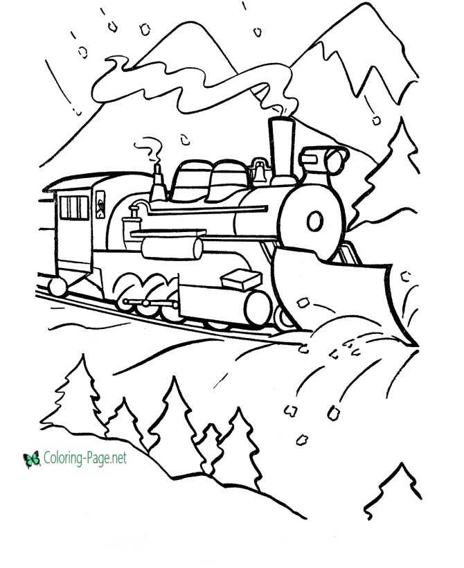 Train Coloring Pages Plowing Trains