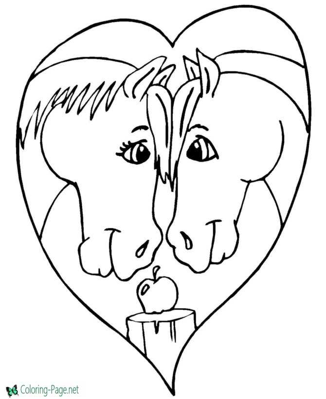 Valentines Day Coloring Pages Girls Two Horses