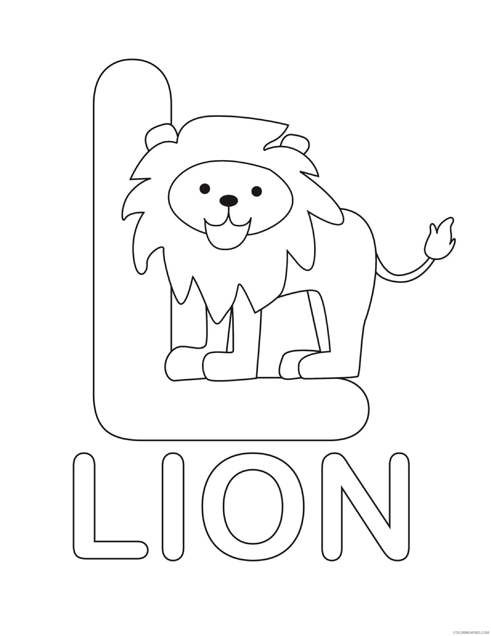 Letter L Lion Craft Template Sketch Coloring Page