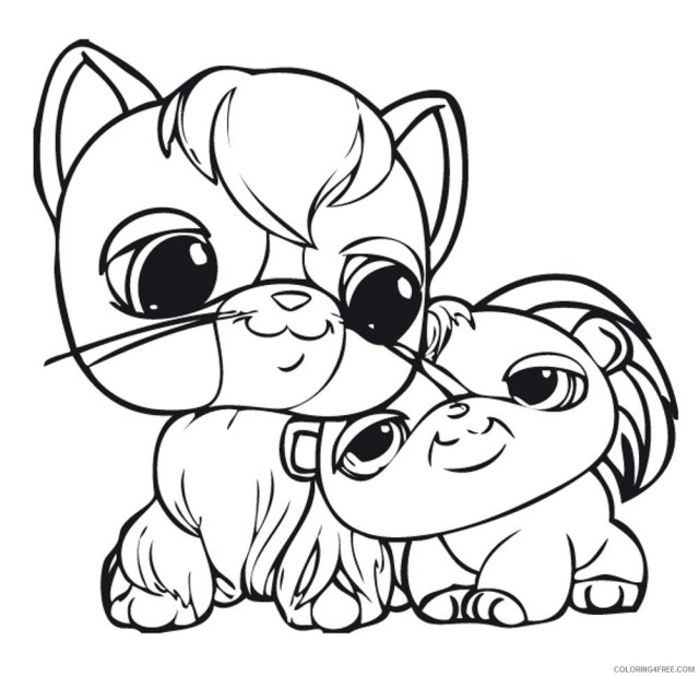 littlest pet shop coloring pages cat and puppy Coloring28free