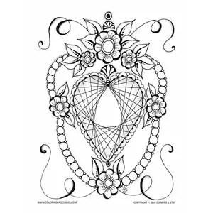 Diamond Heart Valentine S Coloring Page