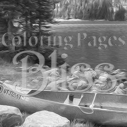 Canoe by a Mountain Lake Grayscale Coloring Page