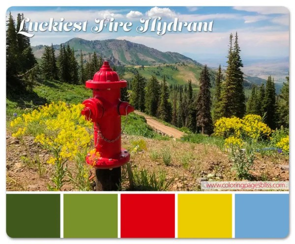 The Luckiest Fire Hydrant Grayscale Coloring Page