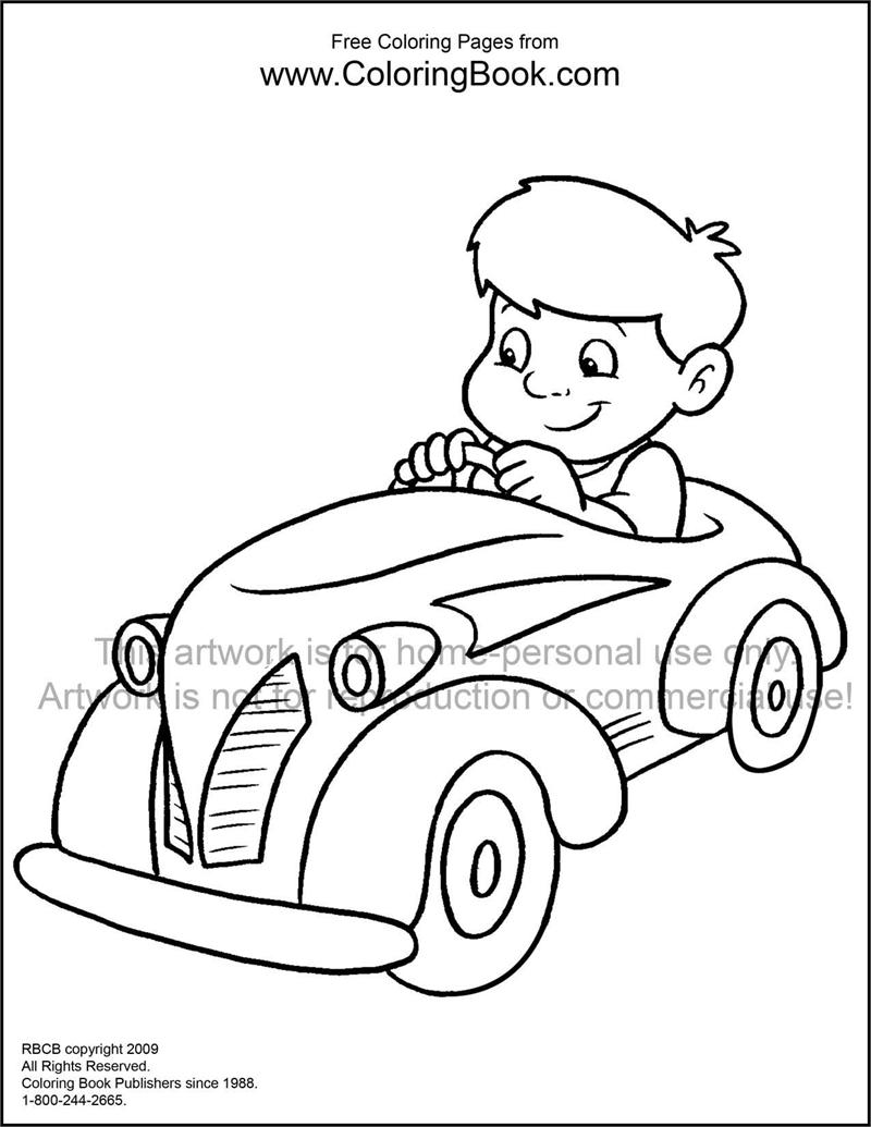 Coloring Pages Free Online Coloring Pages Kid In Car