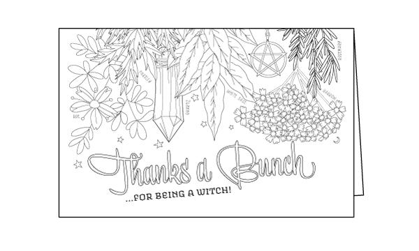 A Thank You Card For Your Coven Coloring Book Of Shadows