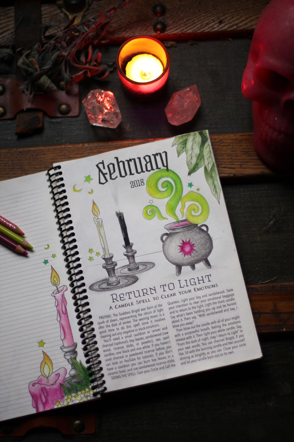 February Planner And Spell Pages Coloring Book Of Shadows