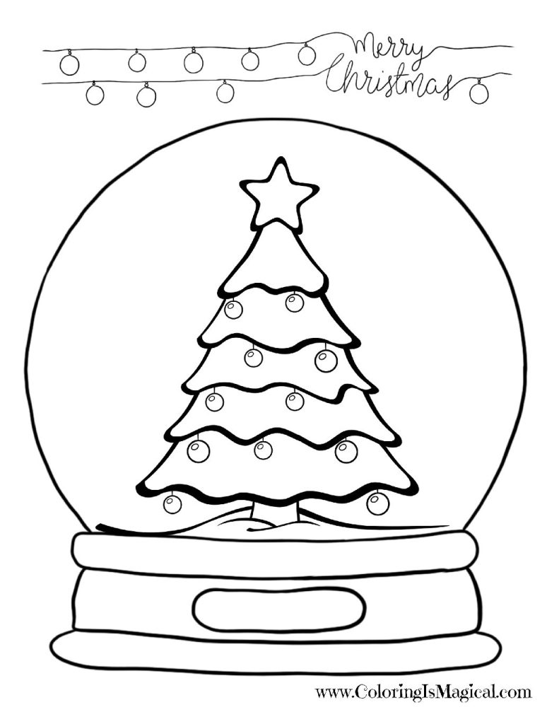 Christmas Tree Snow Globe Coloring Page • FREE Printable PDF from ... | 1024x791