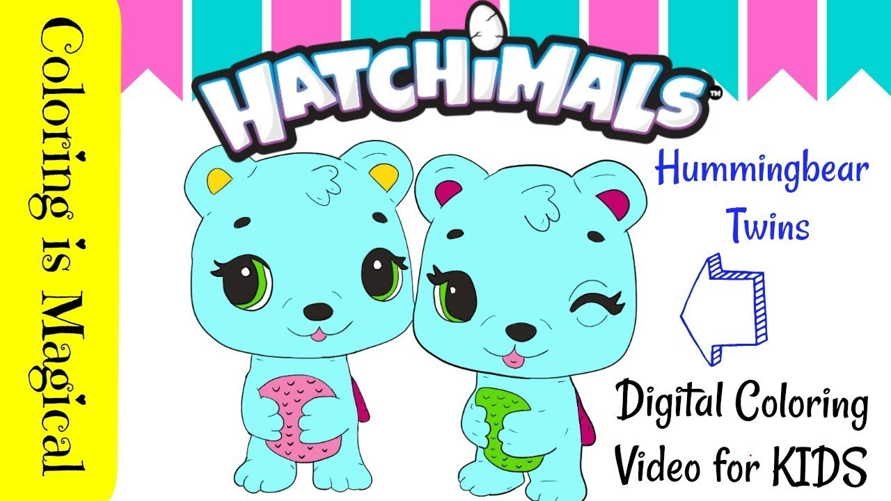 Hummingbear Twins Hatchimals Coloring Page