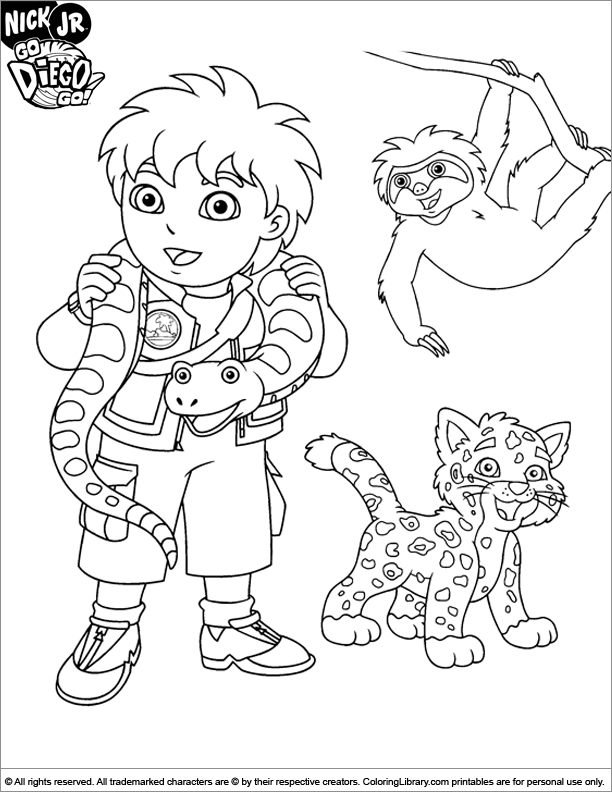 go diego go coloring picture  coloring library