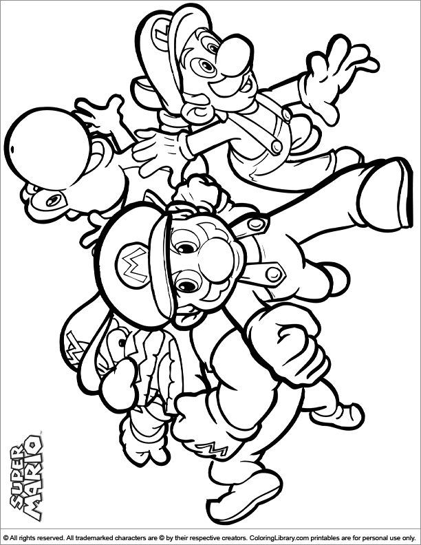 Super Mario Brothers Color Page Coloring Library