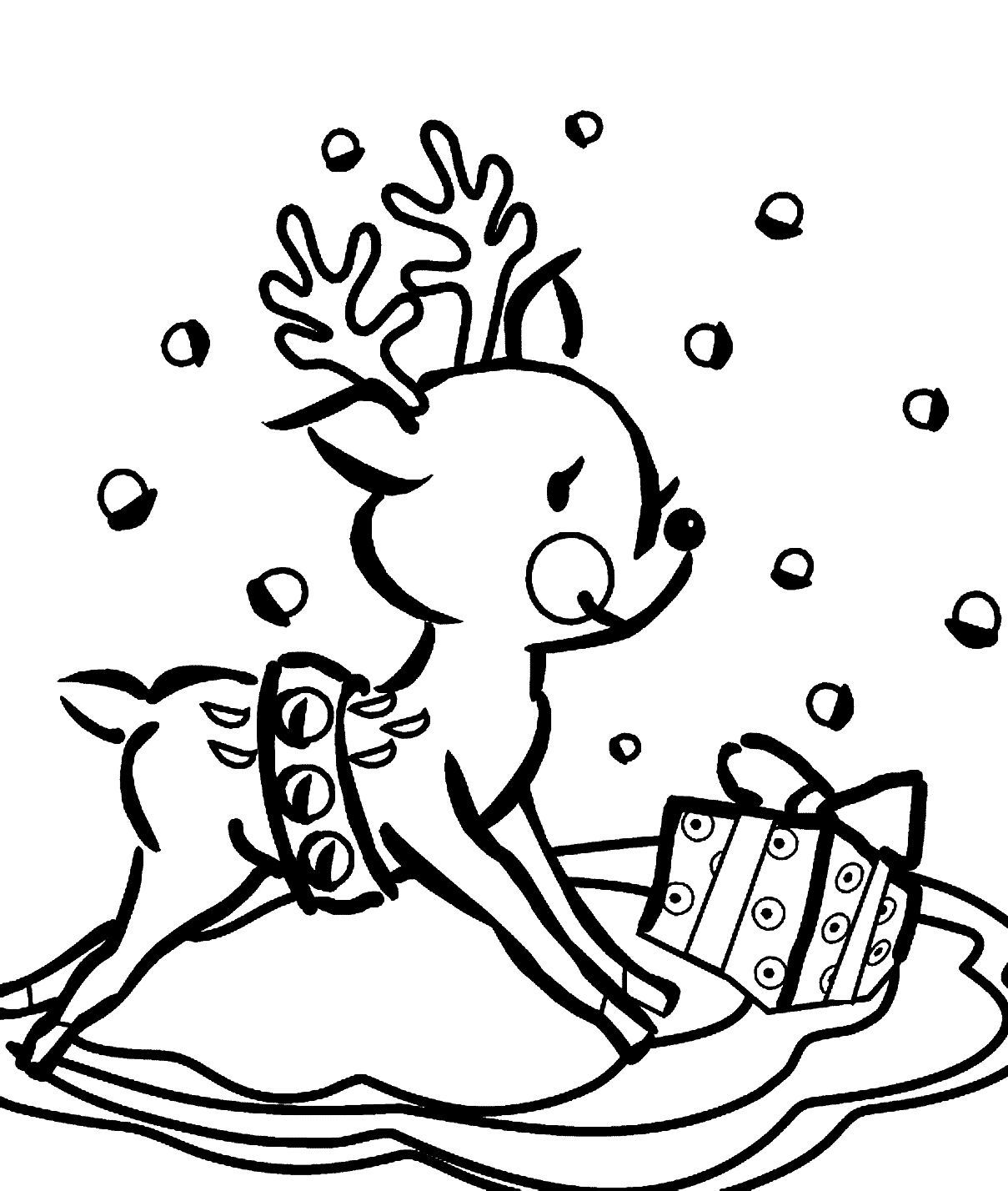 Christmas Reindeer Head Coloring Pages