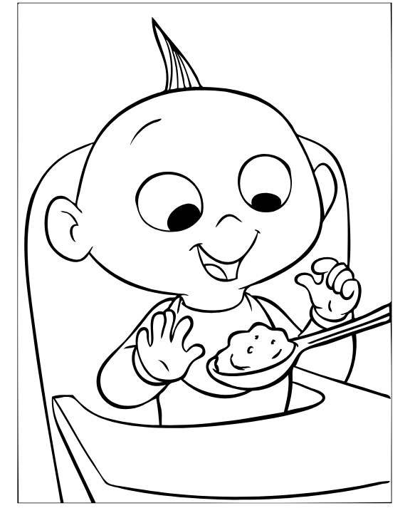 Jack Jack Parr Eating Coloring Page Free Printable