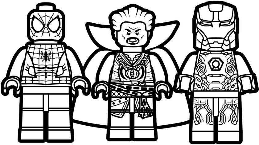 lego spiderman doctor strange and iron man coloring page