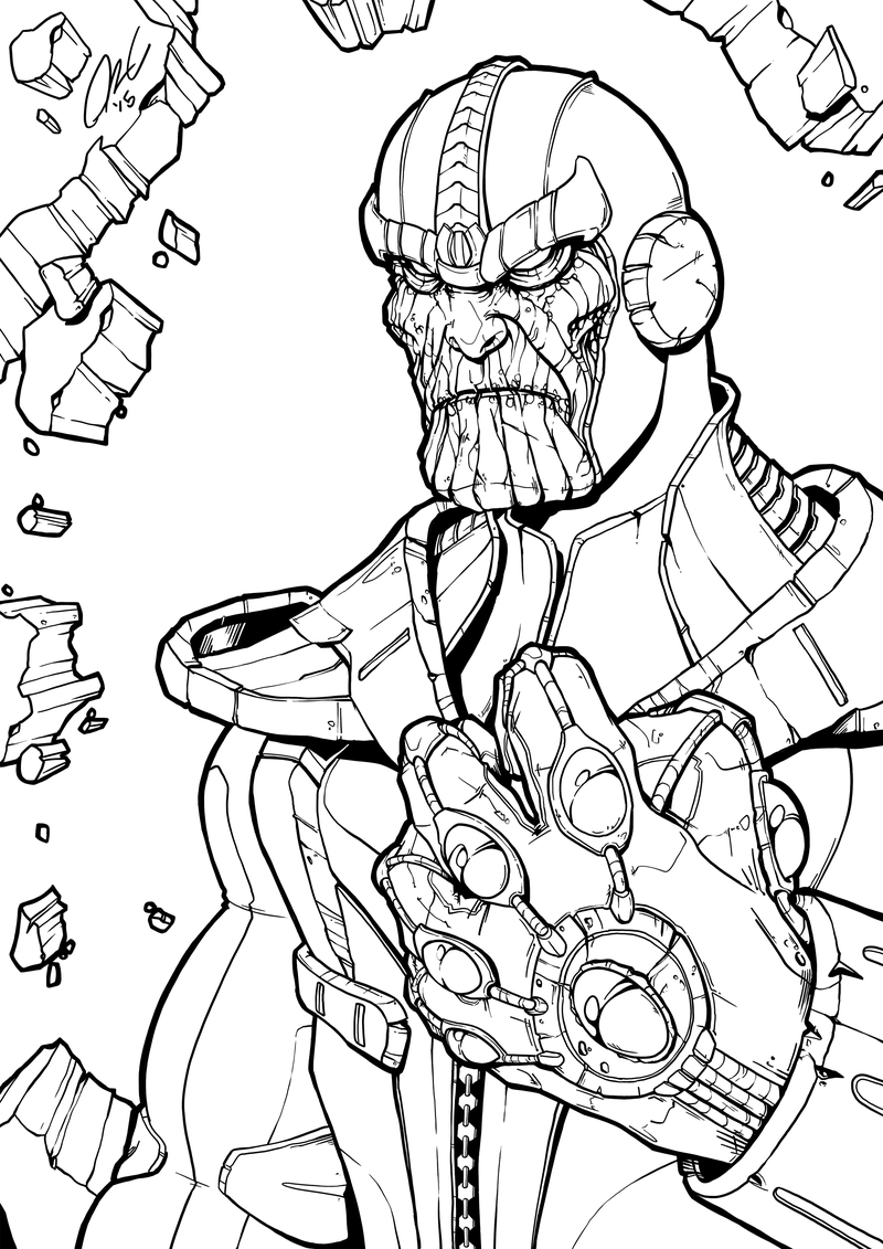Marvel Thanos Coloring Page Free Printable Coloring