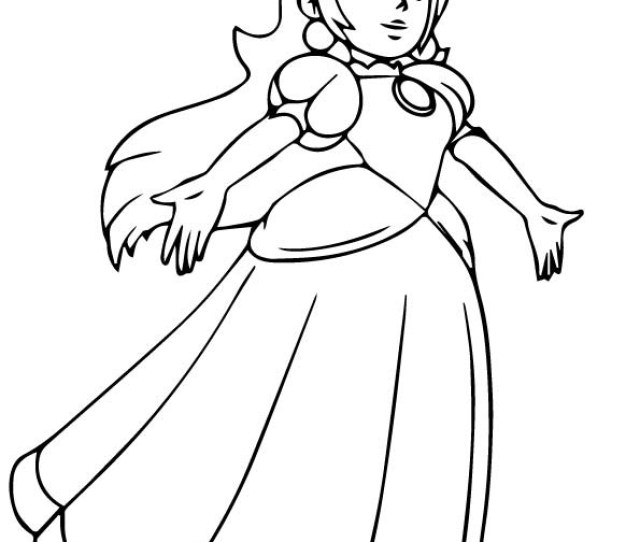 Princess Peach Dancing Coloring Page Free Printable Coloring