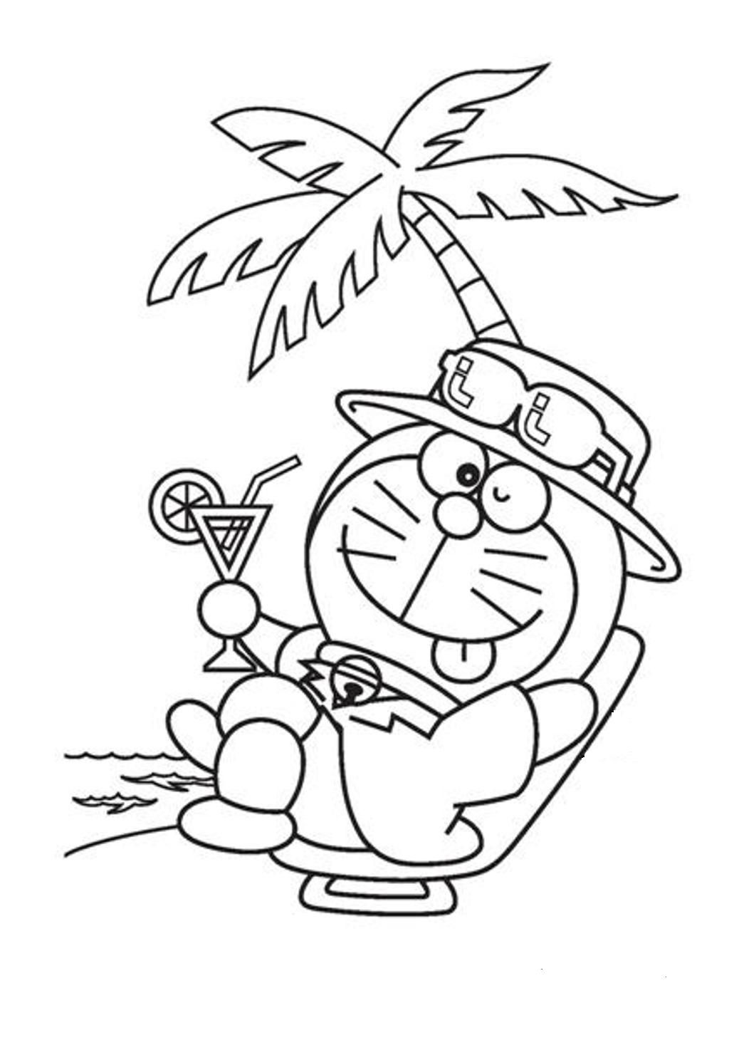 Doraemon At The Beach Coloring Page