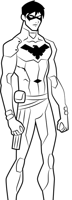 handsome nightwing coloring page  free printable coloring