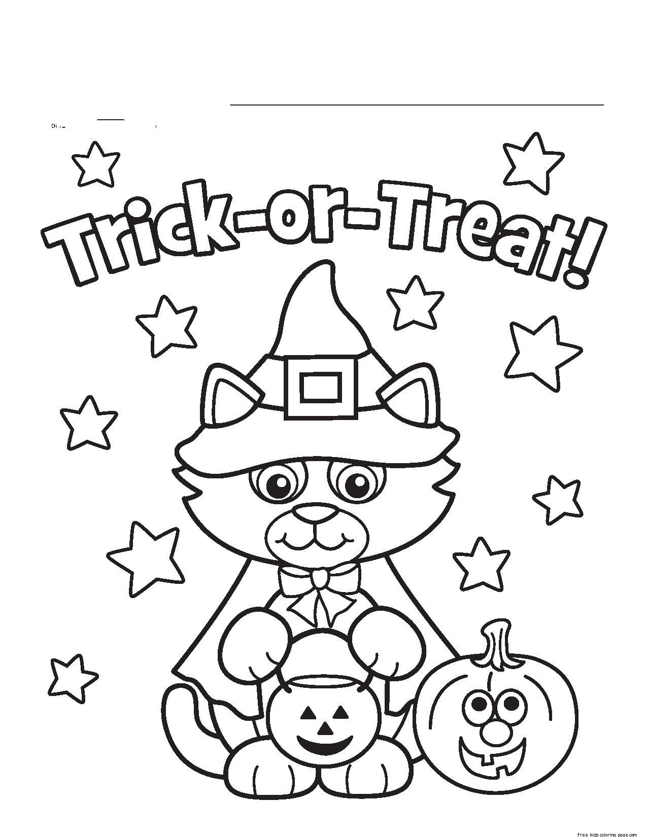 Trick Or Treats With Cat The Witch Coloring Page